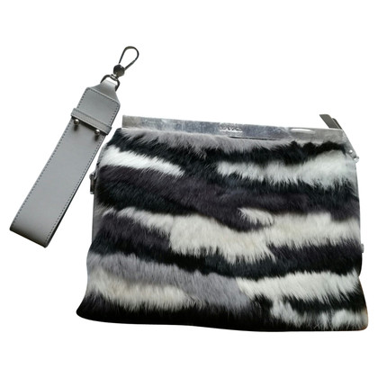 Max & Co clutch in leather and fur