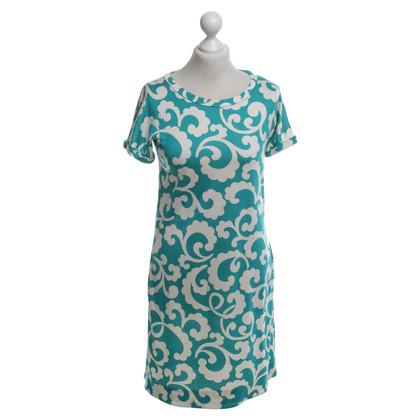 Diane von Furstenberg zijden jurk in Turquoise / White
