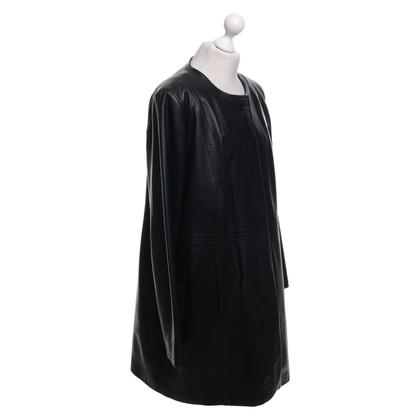 Marina Rinaldi Leren jas in zwart