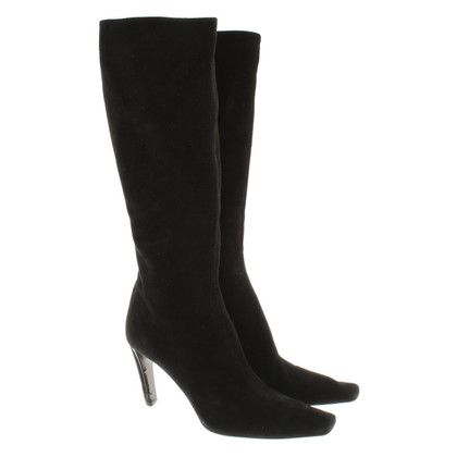 Prada Wild leather boots in black