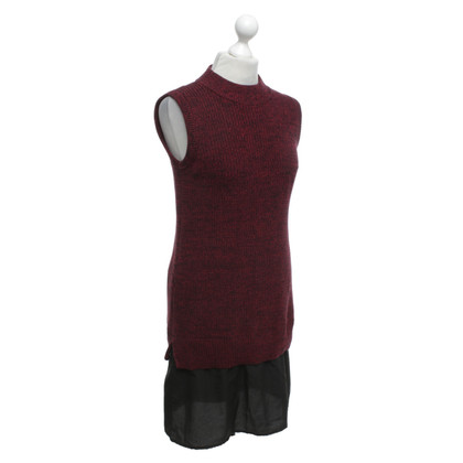 French Connection Knit dress in bordeaux / black