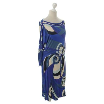 Emilio Pucci Blaues Kleid mit Muster
