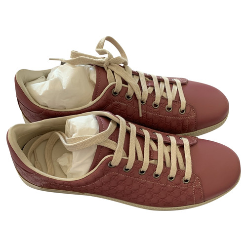 Gucci Lace Up Shoes Leather In Pink Second Hand Gucci Lace