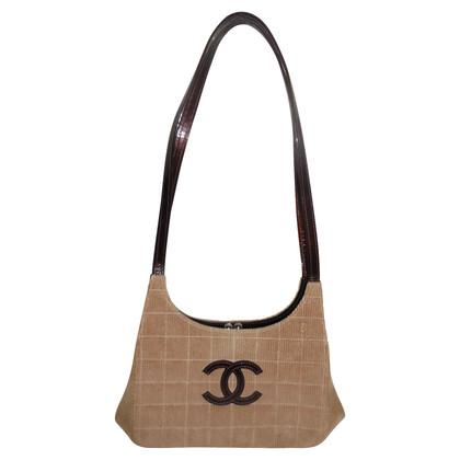 Chanel beige corduroy shoulder
