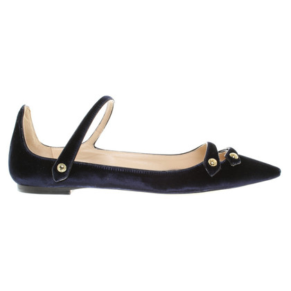 Jimmy Choo ballerine velluto in blu scuro