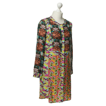 Antik Batik Buntes Kleid mit Knöpfen