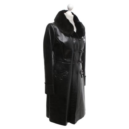 Prada Leather coat in black