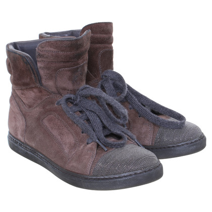 Brunello Cucinelli Wildledersneaker with metallic detail