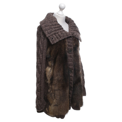 Other Designer Tricot Chic - knitted coat with real fur