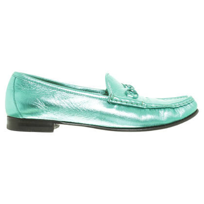Gucci Slipper in metallic turquoise