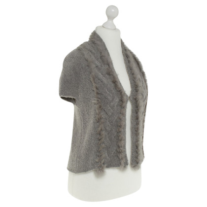 Luisa Cerano Knitted vest with fur trim