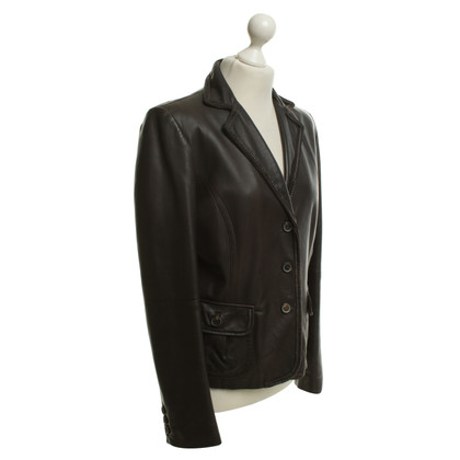 Max Mara Lederen jasje in donkerbruin