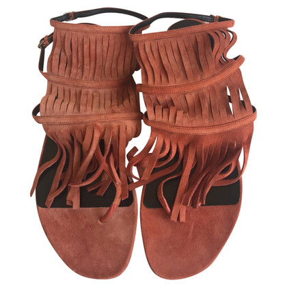 Gucci Orange flat sandals with fringes