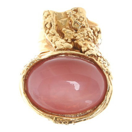 Yves Saint Laurent Gold ring with ornamental stone