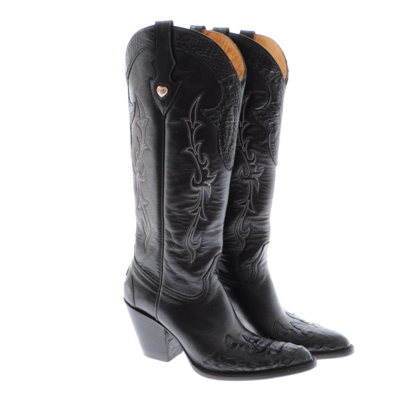 Other Designer Black leather cowboy boots