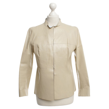 Costume National Veste en cuir beige