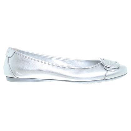 Hogan Silver ballerinas