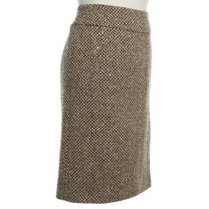 Prada Gonna di lana in beige/nero