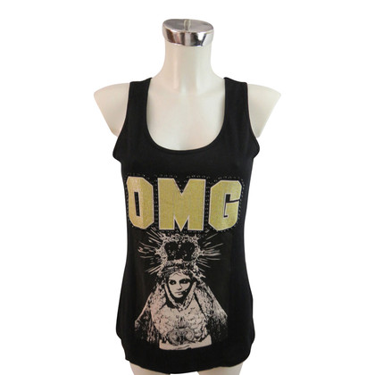 Philipp Plein Top with Madonnenprint and rhinestone