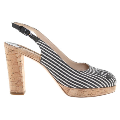 Chanel Slingbacks with striped pattern