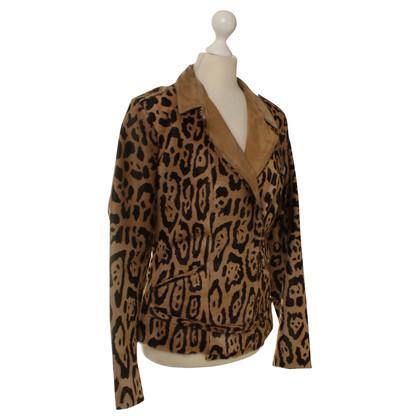 Jitrois Giacca in pelle di vitello con stampa leopardo