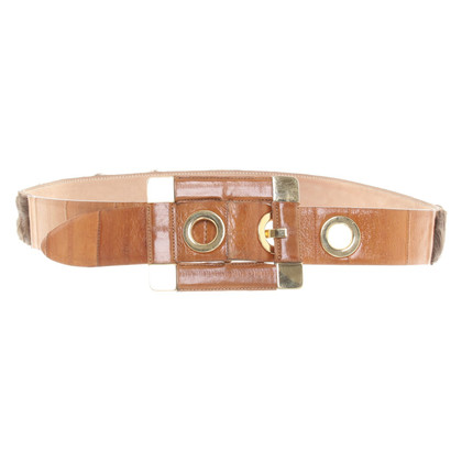 Dolce & Gabbana Leather belt with fur element