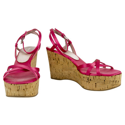 Prada Pink Satin Strappy Sandals Cork Wedges