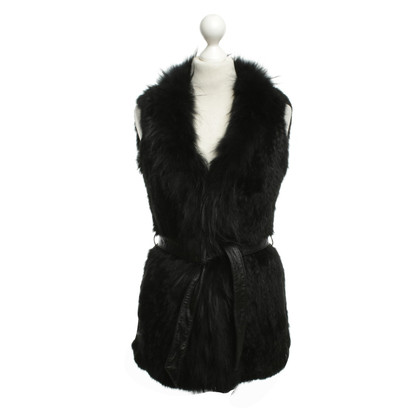 Maje Black Fur Gilet