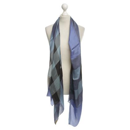 Burberry sciarpa di raso fantasia in blu