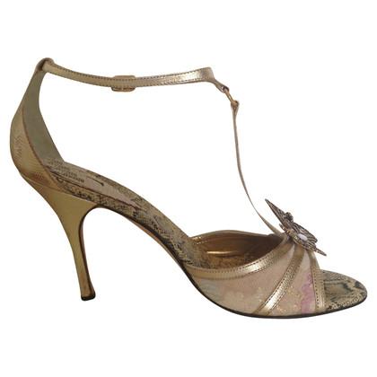 Just Cavalli alti sandali d'oro con la farfalla