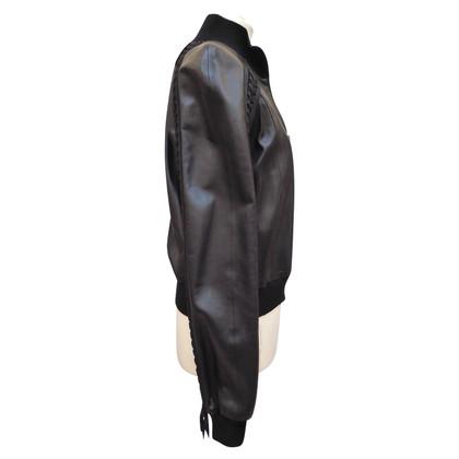 Christian Dior Leren jas met kant versieringen