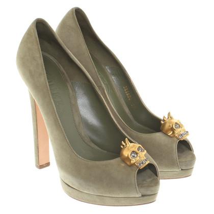 Alexander McQueen Peep-toes in olive green