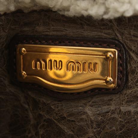 Online Kaufen Authentisch Miu Miu Lammfell-Umhängetasche Braun Verkauf Günstig Online IitOT
