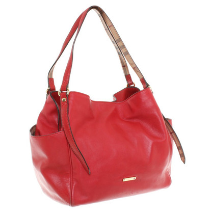 Burberry Leather Handbag in Red