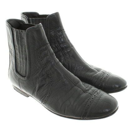 Balenciaga Leather ankle boots in dark gray