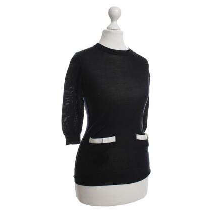 Dolce & Gabbana Seidenpullover in Schwarz/Weiß