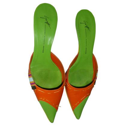 Giuseppe Zanotti Muli in arancione-verde