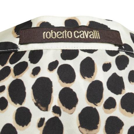 Bunt Roberto mit Roberto Muster Muster Cavalli Cavalli Seidenbluse OxgqYwH
