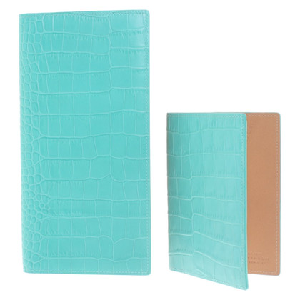 Smythson Travel wallet in turquoise