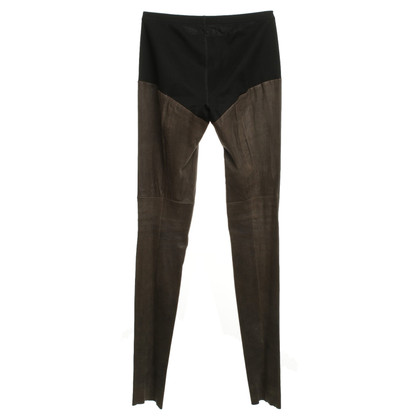 Marc Cain Leather leggings in Taupe / Black