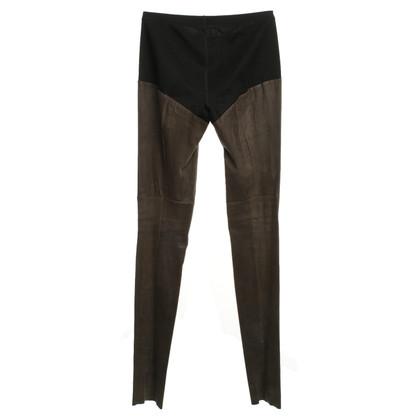Marc Cain Lederen leggings taupe / zwart