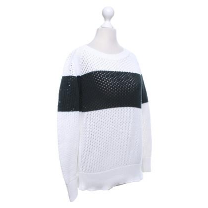 Closed Sweater in wit / donkergroen