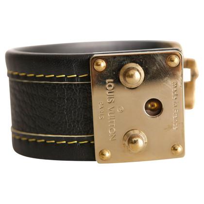 Louis Vuitton black leather bracelet