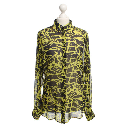 Versus Silk blouse with pattern print in yellow / black
