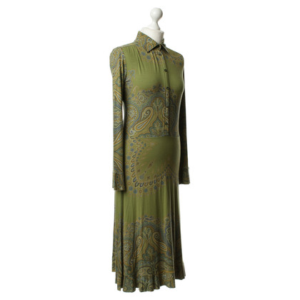 Etro Groene Paisley patroon jurk