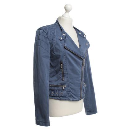 Closed biker jacket in smoke blue