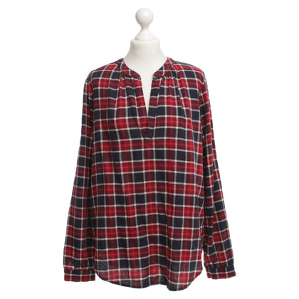 Velvet Blouse with checked pattern