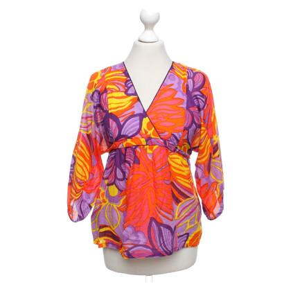 Antik Batik Oberteil mit farbenfrohem Muster