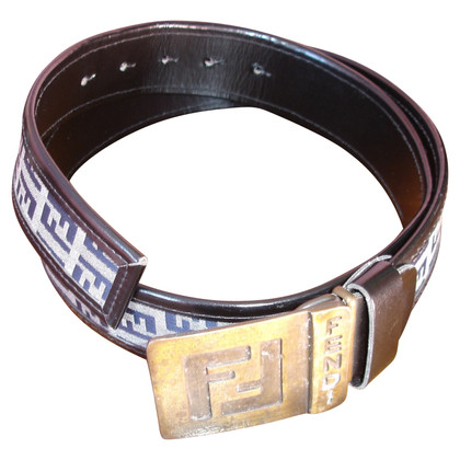 Fendi Leather and fabric belt with logo