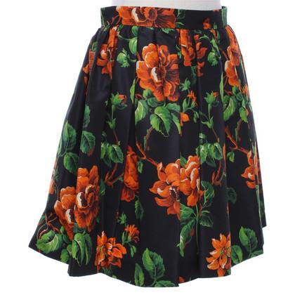 Miu Miu jupe en soie avec un motif floral